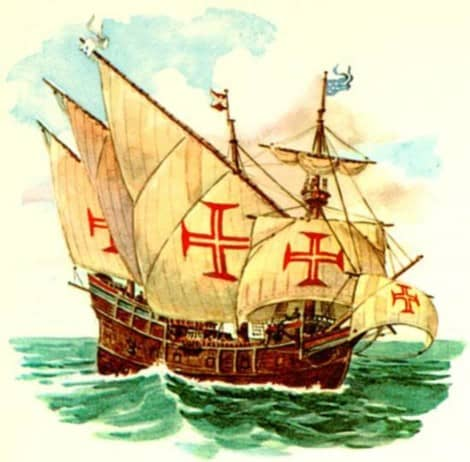 Ilustração da Caravela de Nicolau de Resende, ano de 1571 - Delta do Parmaíba